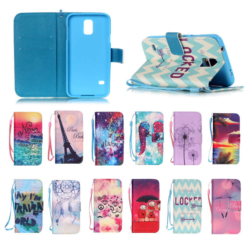 Fancy Colorful soft tpu + PU leather cover Case for samsung S5 mini, for Samsung S5 mini leather case with Hand Strap