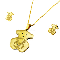 Stainless Steel 18k Gold Fashion Brazilian Gold Bear Designs Lovely Wholesale Jewelry for Women