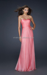 Best Selling Pink Chiffon New Collection Design Spring Sexy Wholesale Party Gown Western Prom Formal Wear Ladies Evening Dress