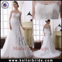 Guangzhou A Line Long Train Tulle Wholesale Lace Designer Bridal Gown 2014