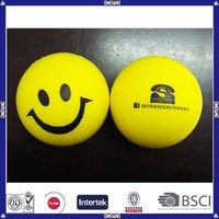 lovely pu foam yellow smiley stress balls