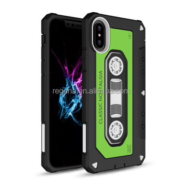 2017 Newest desig TPU+PC phone case Shockproof cassette tape phone case for iPhone 8 X