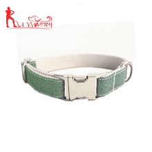 Superior Quality Classic Jean Thicken Webbing Dog Collar,with Sturdy Stainless Metal Adjustable Hook and D-Ring