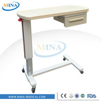 MINA-OBT002 High quality hospital bedside tables , plastic bedside table , bed table for laptop