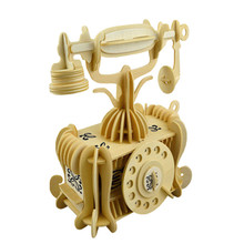 free shipping Wooden DIY 3D model phone