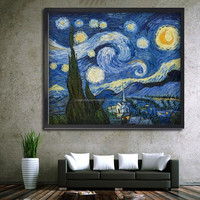 Wholesale dopshipping van gogh starry sky handpainted decorative oil painting on canvas