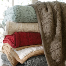 Cotton and Acrylic Blend Soft Knitted winter throw Blanket