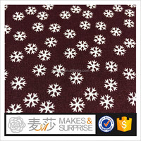 Snowflake print 100% cotton poplin fabric wholesale,stocklot woven shirting with plain dyed moroccan cotton fabric