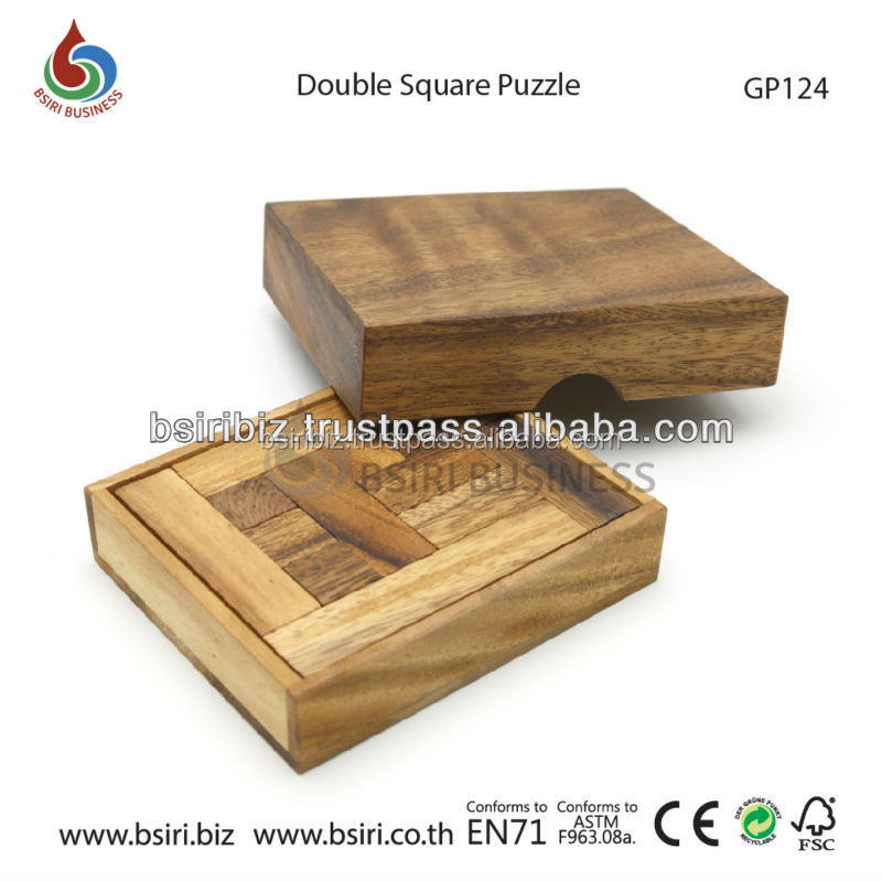 Solid Double Square Brain Teaser Wooden Puzzles