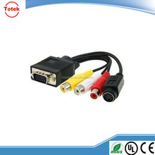 Vga To S-Video / Rca Converter Cable Adapter For Pc Tv