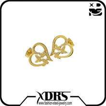 Latest designs stainless steel jewelrly gold plated with heart flower earring stud