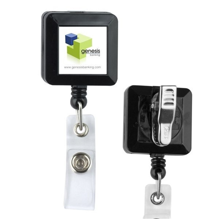 Promotional square Retractable durable Id Card Badge Holder/Reel,name badge reel