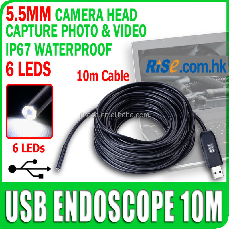 Mini USB Waterproof 5.5mm Inspection Camera with 10m Cable 6 LEDs Lights Endoscope