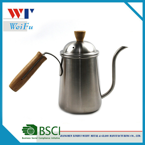 Stainless steel french drip coffee pot / coffee kettle with wooden handle