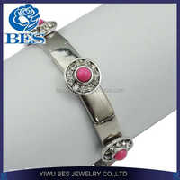 NEW flower crystal charm Stretch Bracelet wholesale antique silver plated charm trendy punk style crystal jewelry