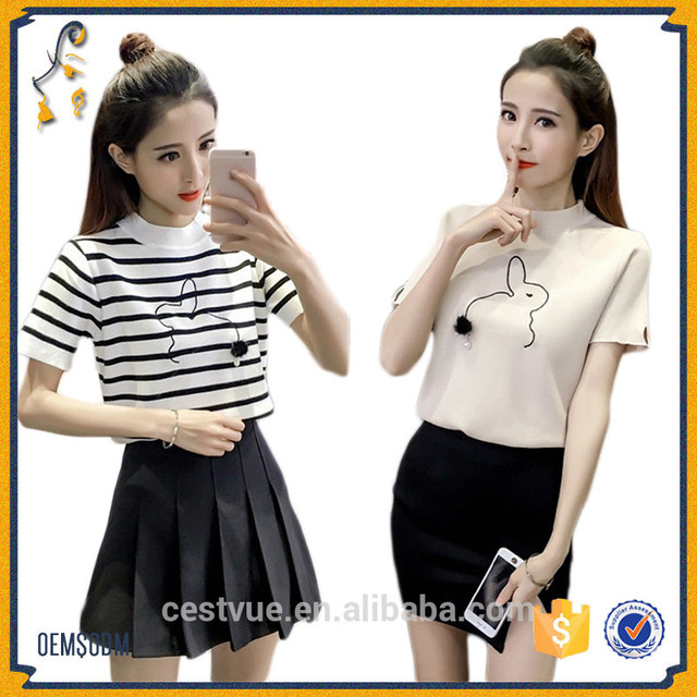 New Fashion Clothing Women Top Short Sleeve Female Easy Knit Rabbit Sweater Pattern Knit Shirt