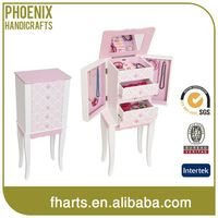 Custom Shape Printed Classic Mirrored Jewelry Cabinet Pink Bedroom Furniture