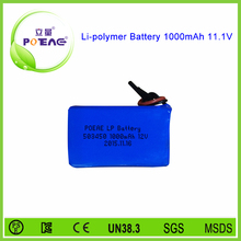 Prismatic 1s1p rechargeable 1000mah battery lipo 11.1 v with pcm