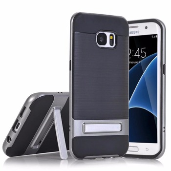 Brushed Back Kickstand Hybrid Armor Case for Samsung Galaxy S7 Edge