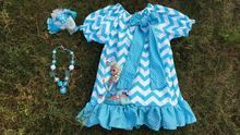 2015 new design simple girls dress girls summer dress ice chervon dress blue with matching headband and necklace