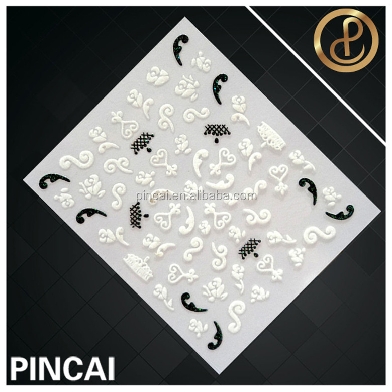 New lauched hot sale screen printing sweet bow designed acrylic nail stickers for lady