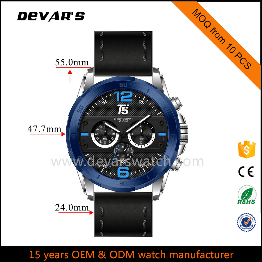 watch chronograph quartz stainless steel back watch oem watch
