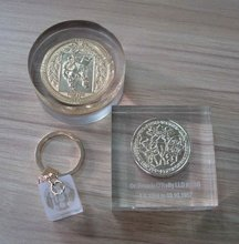 paperweight with coin inside