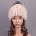 CX-C-196B New Design Knitted Winter Mink Fur Ball Pompons European Hats
