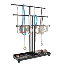 Black Metal 3 Tier Tabletop Bracelet Necklace Jewelry Tree Rack Jewellery Display With Ring Tray