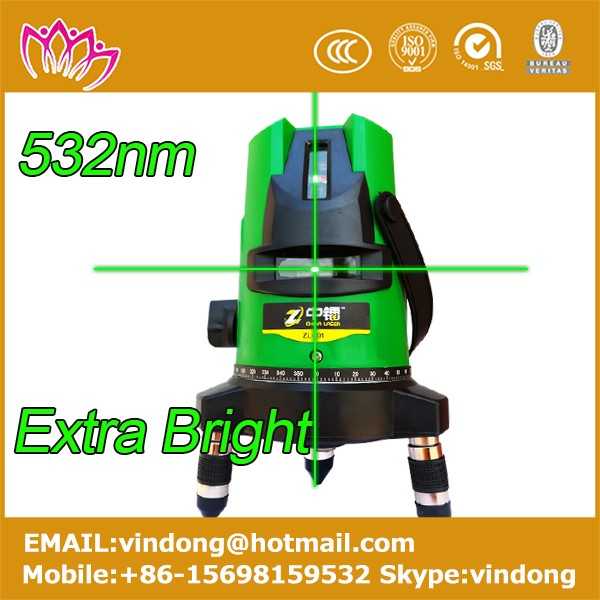 2016 new model 532nm green laser level construction 3 lines indoor and outdoor high accuration rotating laser level