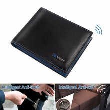 2017 wholesale hot selling New fashion bluetooth leather men's smart wallet with Anti theft function