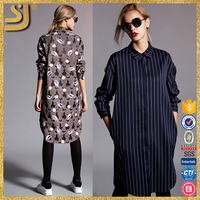 SS16 Ladies casual midi plus size shirt dress