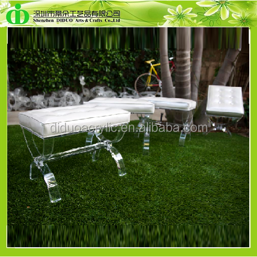 DDH-0017 Trade Assurance Clear Acrylic Vanity Stool With Cushion