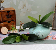 Real touch artificial leaves orchid leaf phalaenopsis leaf decorative artificial flower making pu artificial flower