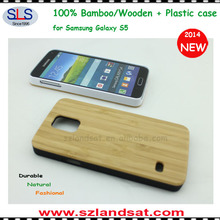 2014 New & Hot durable plastic case with wooden back cover for galaxy s5 BCS09C