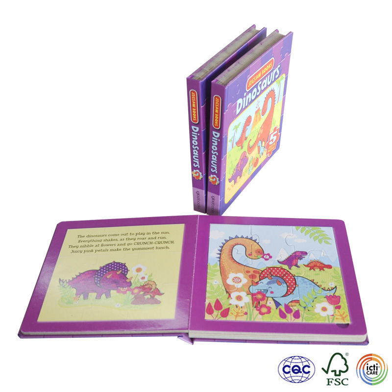 Cheap dinosaur Offset printing puzzle book , Colorful children puzzle board book , children board book printing