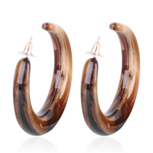 New Vintage Brown Color Big Circle Shape Acrylic Large Stud Earring For Girls