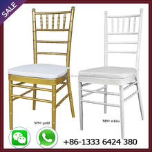 Hot selling gold white metal wedding chiavari chair with cushion for chivari event