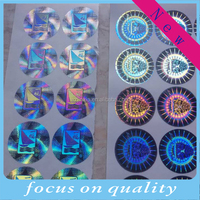 3D anti fake hologram labels,silver and gold background,one time use sticker