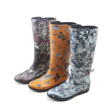 pretty pattern rubber rain boots wellinton boots for women wuth buckles