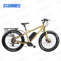 fat tire electric mountain bike with double butted steel fork