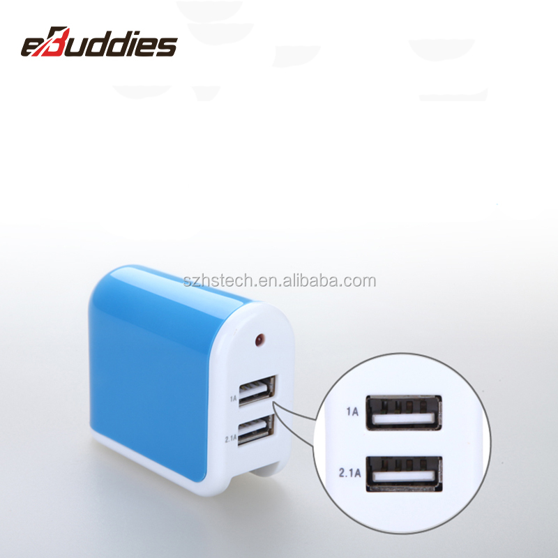 2.1A 2 USB Port AC Adapter US Plug Home Wall Charger For iPhone Samsung LG HTC HS