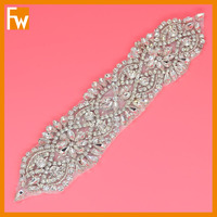 Hot selling fancy rhinestone applique patch wedding dress beaded belt for sash