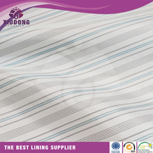China factory textile taffeta 100% polyester white Lining stripe fabric