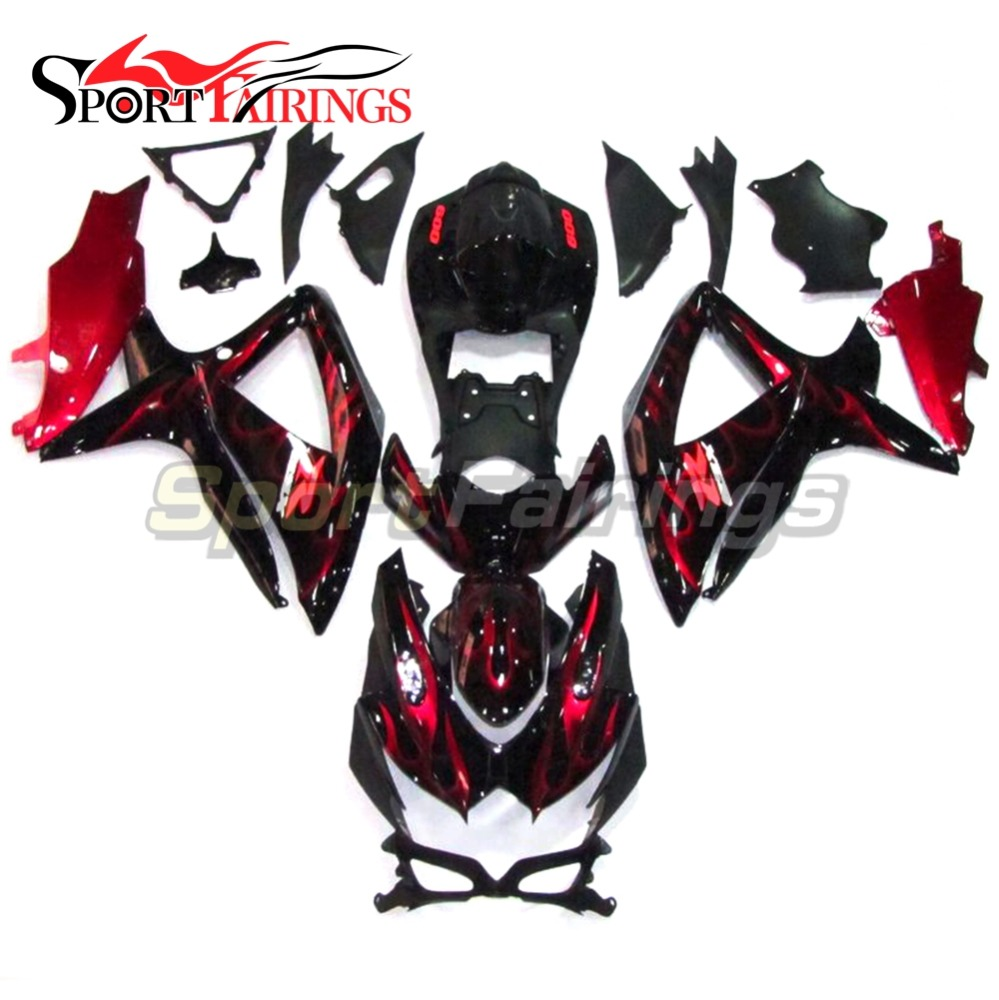 Motorbike Complete Fairing Kits For Suzuki GSXR600 GSXR750 2008 2009 2010 K8 Year 08-10 Injection ABS Black Red Flames Fairings