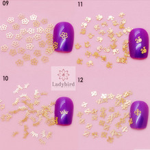hot selling Gold Metal nail art Decals Slices/ Golden Metalic fashional Shape nail sticker