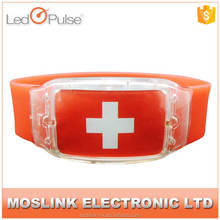 Glow in the dark creative custom made flag printing fashion silicone bracelet with led light