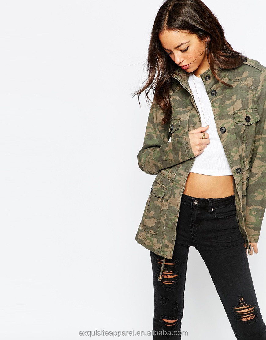 Custom design everyday jacket for women pure cotton camouflage canvas jacket wholesale women cotton military camo jacket