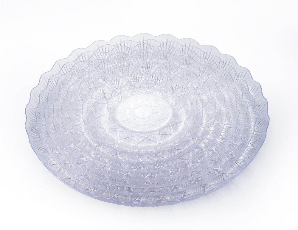 Hot sale fruit virgin PS disposable clear plastic dinner plate set