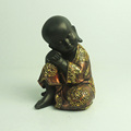 Handmade resin black color littile monk statue in sculpture craft